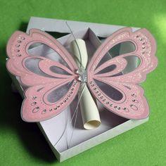 Purple Elegant Butterfly Wedding Invitations with Blank Scroll