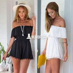 Stylish Lady Women's Fashion Casual Chiffon Off-shoulder Short Sleeve High Waist Short Jumpsuit Overall
