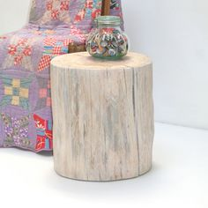 White Linen Tree Stump Table Sofa End Side by realwoodworks1, $325.00