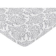 Sweet Jojo Designs Pink and Gray Elizabeth Collection Fitted Crib Sheet - Damask Print