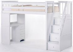 School House Stair Loft Bed in White $1,549.00