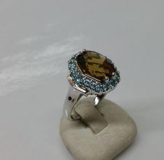 Ring Silber 925 Kristallsteine cognac/türkis SR659 von Schmuckbaron