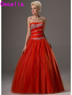Glitter Orange Long Floor Length Ball Gown Prom Dresses 2017 Strapless Beaded Crystals Tulle Teens Formal. Click visit to buy #PromDress #Dress