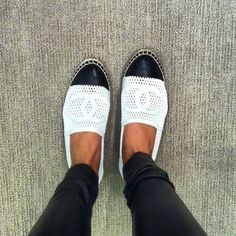A pair of flats to throw on! Every girl should have a pair. Chanel Espadrille White Mesh Leather Canvas Flat.
