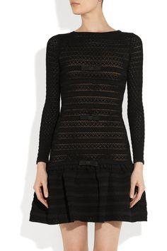 Valentino|Bow-embellished crocheted dress|NET-A-PORTER.COM
