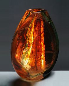 Art Glass Vase created by Randi Solin - it's on fire..... you can feel the heat...