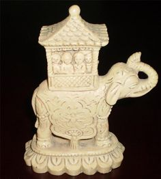 HAND MADE Vintage INDIAN ELEPHANT Animal Pottery Ornament Figurine Collectable