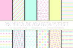 Modern Digital Paper, Candy Pink, Yellow, Aqua, Geometric Patterns, Digital Background, Scrapbook Paper, Triangles, Card Design, Web Design