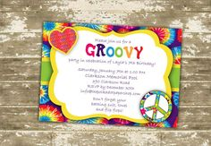 Hippie Groovy Birthday Party Invitation on Etsy, $2.13 CAD