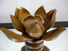 Lotus Flower Bowl Vintage Mid Century Wooden Lotus Serving Set  Monkeypod Lazy Susan Snack Set