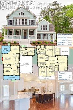 Plan Open Floor Plan Farmhouse LOVE this floor plan, especially the first level. Great use of space, no extra useless space. Modern Farmhouse Plans, Farmhouse Style, Farmhouse Design, Dream House Plans, My Dream Home, Dream Houses, Living Room Floor Plans, House Blueprints, House Layouts