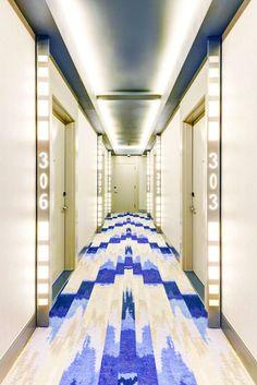 The Brooklyn A Hotel opens in Brooklyn. Discover the best Brooklyn hotels on… Spas, Brooklyn Hotels, Hotel Corridor, Elevator Lobby, Corridor Design, Hotel Carpet, Lobby Design, Hotel Motel, Arquitetura