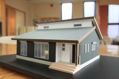 ゆったりくつろぐ、勾配天井がある平屋のお家 アンシン建設工業の事例集 Scale Model Architecture, Architecture Building Design, Facade Design, Concept Architecture, Contemporary Architecture, Architect House, Architect Design, Japanese Modern House, Cardboard Model