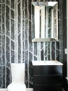 Tapetserad vägg på toaletten, Hgtv