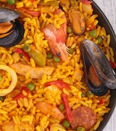 Travel back in time to make Mario Batali's seafood-rich 1986 Paella Recipe, with a spicy rouille sauce and the freshest ingredients. The Chew Recipes, Fish Recipes, Seafood Recipes, Mexican Food Recipes, Cooking Recipes, Ethnic Recipes, Spanish Recipes, Avocado Recipes, Gastronomia