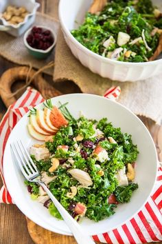 Salads don't get much healthier or tastier than this beautiful vibrant Kale Apple Chicken Salad! The secret to its deliciousness? Massage those kale leaves! Apple Chicken, Cashew Chicken, Chicken Salad With Apples, Kale Recipes, Salad Ingredients, Avocado Toast, Cobb Salad