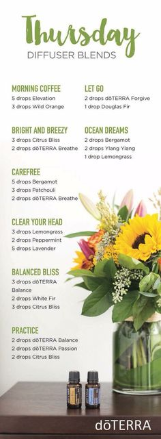 doTERRA essential oil diffuser blends for Thursdays! Essential Oil Diffuser Blends, Doterra Essential Oils, Essential Oil Uses, Elixir Floral, Doterra Oils, Doterra Diffuser, Doterra Blends, Diffuser Recipes, Aromatherapy Oils