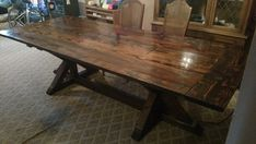 Brian and I create custom furniture. The table shown in the pictures is 46 wide and 115 long. It has a 50 pocket down the center for a 4 power bar, and a removable lid.   Item is for pickup only. Additional cost for local maryland delivery.