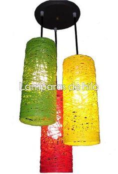 Lampara De Hilo Tubular De Colores. Envío Capital Gratis! (Colgantes ) a ARS 270  en  PrecioLandia Argentina (81djbr)