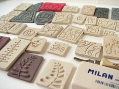 Does it work to carve a stamp then stamp into a piece of clay or primo for inverse? Fimo Clay, Polymer Clay Art, Polymer Clay Jewelry, Clay Stamps, Stamp Printing, Printing On Fabric, Clay Projects, Clay Crafts, Make Your Own Stamp