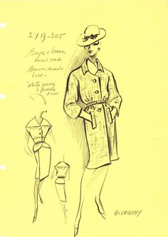 House of Givenchy Original Vintage Fashion Sketch by AwesomeMema