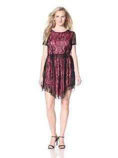 Bacci Women's Handkerchief Hem Lace Dress (Black)