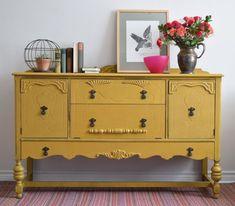 Mustard Yellow Decor, Yellow Home Decor, Gold Home Decor, Painted Buffet, Painted Sideboard, Sideboard Furniture, Diy Furniture Renovation, Home Decor Furniture, Furniture Makeover