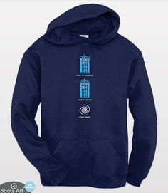 Doctor Who Hoodie with 8 Bit pixel art TARDIS for Whovians and Video Game lovers. Adult Sizes