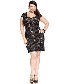 Trixxi Plus Size Cap-Sleeve Lace Sheath Dress