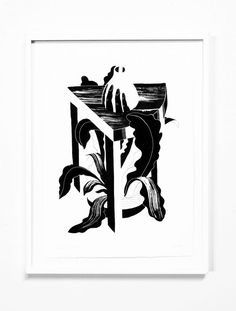 """This striking monochrome artwork called """"Grasp End Table"""" was created for the """"Go Figure"""" gallery show in New York. This piece was created by Flat Earth Studio using India ink and acrylic on deckled, acid-free, hot press, watercolour paper. This artwork comes in a white birch frame."""