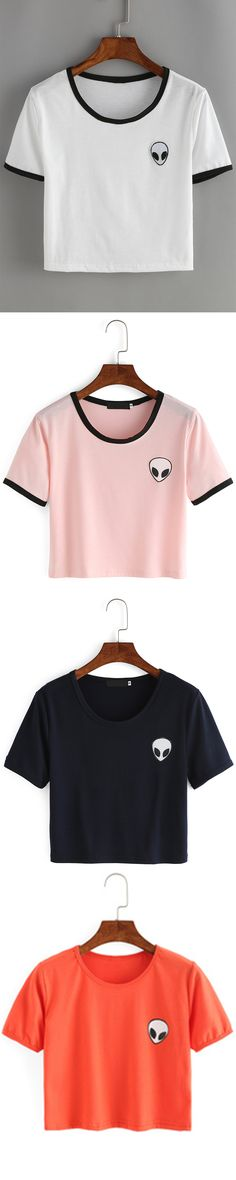 Absolute cute Aline print t-shirt with four colors for you. Super fashion contrast &crop type design. US$6.99 for it.