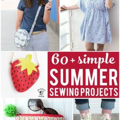 More than 60 simple summer sewing projects. From summer bags to swim coverups and more. Lots of cute summer sewing ideas. Bag Patterns To Sew, Sewing Patterns Free, Free Sewing, Sewing Projects For Beginners, Sewing Tutorials, Sewing Ideas, Polka Dot Chair, Sewing Spaces, Diy And Crafts Sewing