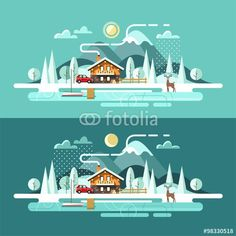 Vector: Nature. Winter landscape. Vector illustration in flat design style.