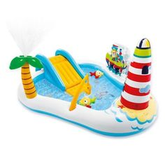 Intex 57162 Fishing Fun Play Center Inflatable Kiddie Pool for sale online Play Centre, Water Play, Am Meer, Water Slides, Bag Storage, Fun Activities, Swimming Pools, Outdoor, Spas