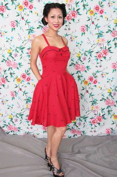 70's Vintage 1940's Pin Up Style, Palm Tree Print, Red Dress with Pockets