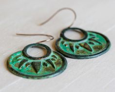 Tribal Earrings in a Beautiful Green Patina / Wild Free Fierce Young Brave / Empowering Jewelry / Patina Earrings / Tribal Jewelry by amywaltz #TrendingEtsy