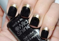 Black and Gold nail art by TARIKISA