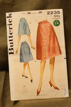 Butterick 2235 Vintage 1960s Skirt Sewing by EleanorMeriwether, $5.00