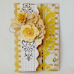 pretty card gold doily