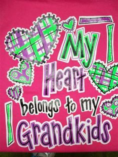 Southern Chics Funny Heart Belongs to Grandkids Bright T Shirt