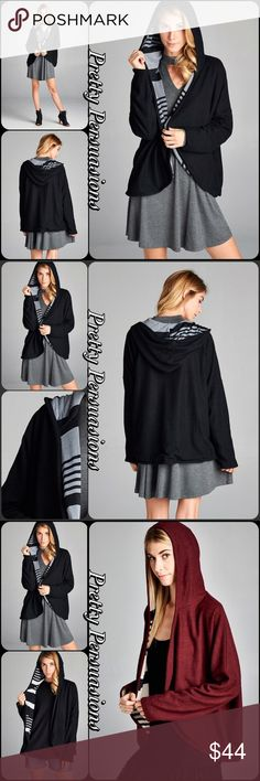 NWT Black & Gray Hooded Open Front Cardigan Description coming soon. Available in S, M, L • Also available in Burgundy Combo & Black & White Combo in separate listings. Pretty Persuasions Sweaters Cardigans