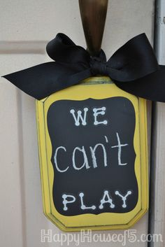 Sign for the front door to tell all the neighbor kids if your kids can go out and play or not. No need to run to answer the door if you are busy!