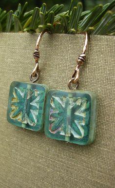 Teal Blue Earrings Picasso Czech Glass Copper by BonArtsStudio