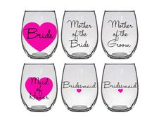 Custom Wine Glasses Bridal Party Bridesmaids Glass Gifts Will You Be My Maid of Honor mother of the Bachelorette Cups wedding personalized