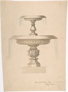 Design for a Fountain with Two Basins (recto); Another design (verso) Poster Print by Anonymous, British, century x Vintage Wall Art, Vintage Walls, House Outside Design, Fountain Design, Art And Architecture, Architecture Blueprints, Vintage Ephemera, Vintage Images, Glass Art