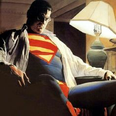 Alex Ross Clark/Superman: My favorite image of Superman. Ross, captures the weight of the Superman role on Clark with this painting Superman Images, Superman Family, Batman And Superman, Superman Stuff, Clark Superman, Superman Pictures, Superman Poster, Batman Comics, Spiderman