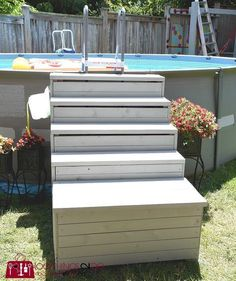 pool decks How to build above ground pool stairs, Intex pool stairs, DIY pool ladder, DIY pool stair Above Ground Pool Stairs, Intex Above Ground Pools, Best Above Ground Pool, Above Ground Pool Landscaping, Backyard Pool Landscaping, Above Ground Swimming Pools, In Ground Pools, Pallet Pool, Pool Steps