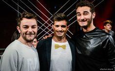 Lorenzo Fragola, Leonardo Decarli e Riccardo Schiara nel backstage della quarta puntata di X Factor. #Outfit #ATPCO. #XF8 #XFactor