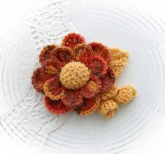 HAND CROCHET BROOCH CORSAGE APPLIQUE MULTICOLORED WOOL FLOWER | eBay