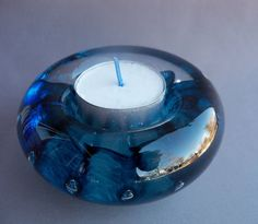 Hand Blown Art Glass Tealight Candle Holder by Route4glass on Etsy, $30.00